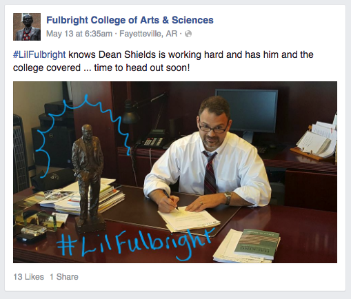 #LilFulbright knows Dean Shields is working hard and has him and the college covered ... time to head out soon!