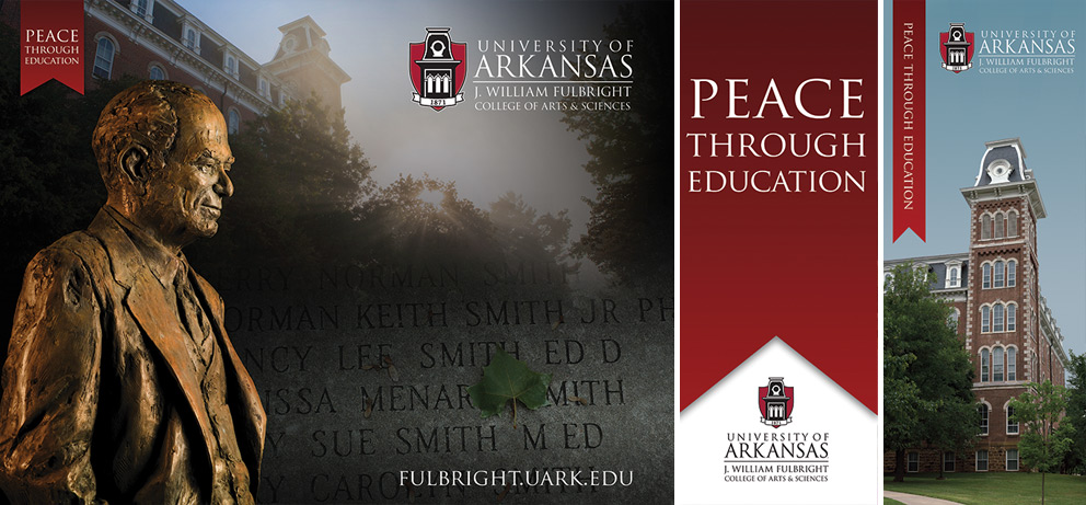 (from left to right): Wall size back drop used for events depicting the Fulbright statue, senior walk and Old Main, Peace Through Education banner and Old Main banner.