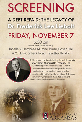 Screening of A Debt Repaid: The Legacy of Dr. Frederick Lee Liebolt