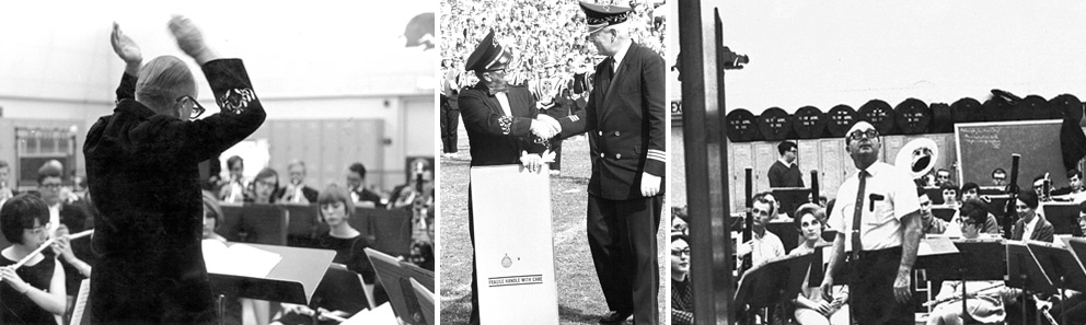 "(from left to right): Doc conducting the concert band (spring 1967) Doc accepting a gift from TCU Band Director Jacobsen. The Gift: A clock with the inscription ""To Doc, a Little Man with a Big Reputation"" (presented after halftime in Fayetteville, 1969) Doc with the concert band (spring 1968)"