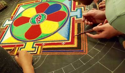 Tibetan Studies Students Create, Then Prepare to Destroy Intricate Sand Mandalas