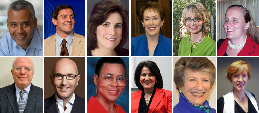 Members of the 2013-14 Fulbright Foreign Scholarship Board (from left to right): Mark Alexander, Rye Barcott, Lisa Caputo, Betty Castor, Gabrielle Giffords, Christie Gilson, Gabriel Guerra-Mondragón, Tom Healy, Shelby Lewis, Anita McBride, Susan Ness, and Laura Skandera Trombley