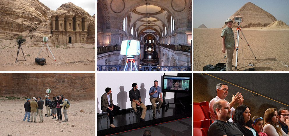 (from left to right): (top) Center for Advanced Spatial Technologies (CAST) on location in Petra, London and Egypt for Time Scanners series on PBS (bottom) CAST on location in Petra; Jack Cothren, Adam Barnes, Malcolm Williamson and Catlin Stevens (on screen) take questions from the audience at the Time Scanners premiere; an audience member asks a question at the Time Scanners premiere