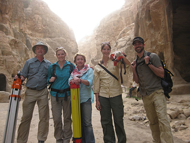 (from left to right): **Malcolm Williamson, Ellen Ernenwein, Catlin Stevens, **Katie Simon and Adam Barnes of CAST on location in Petra