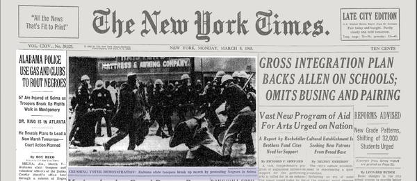 New York Times March 8, 1965, masthead with Roy Reed's byline