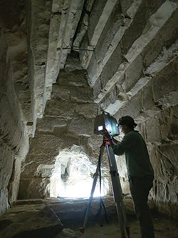 a CAST researcher, prepares to scan the burial chamber at the Pyramid of Meidum in Egypt. Courtesy Atlantic Productions.