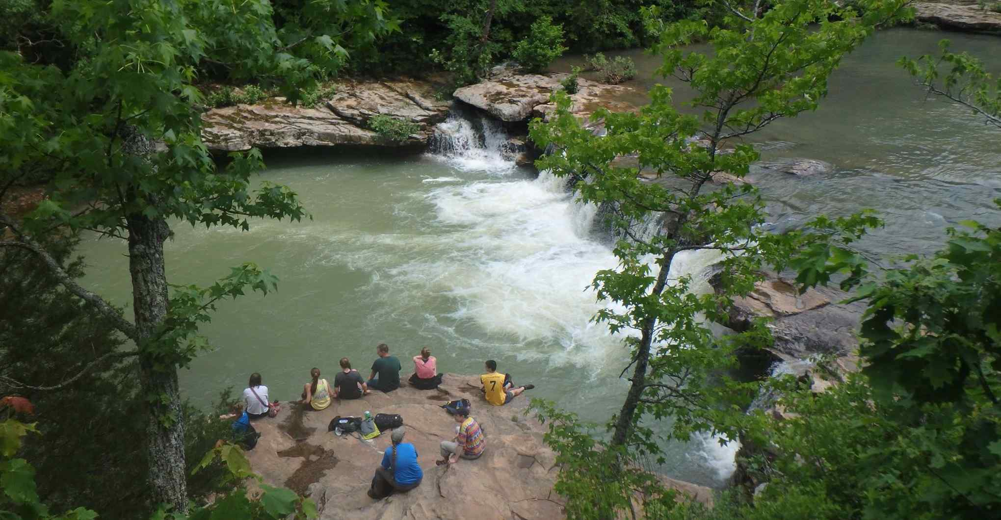 University of Arkansas REU Research Experience for Undergraduates field trip to King's River Falls