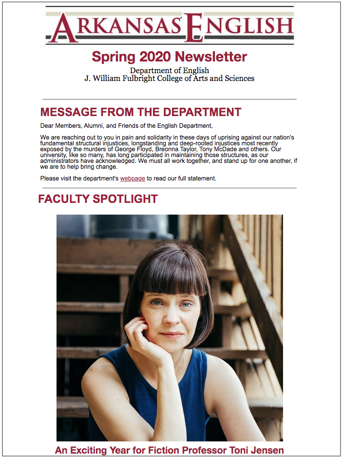 cover of spring 2020 newsletter