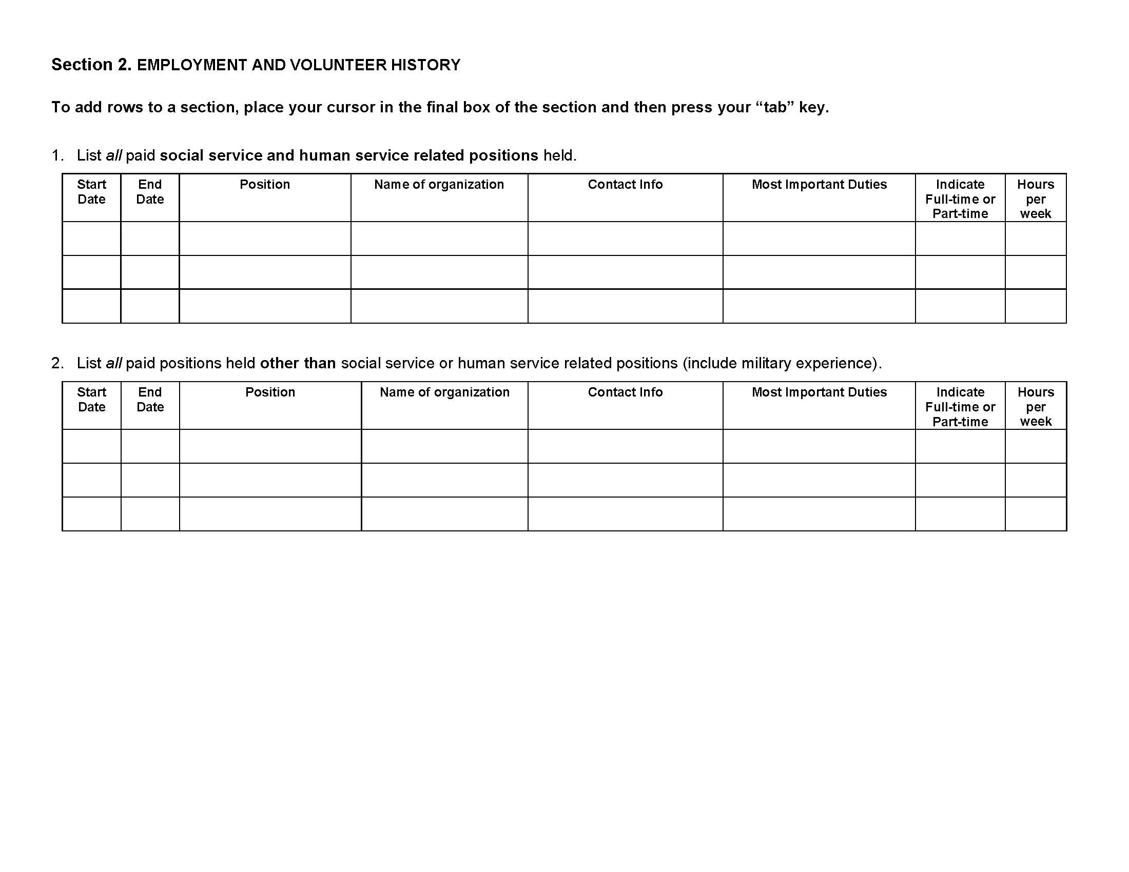applying to the msw program university of arkansas volunteer and work history page 1 jpeg