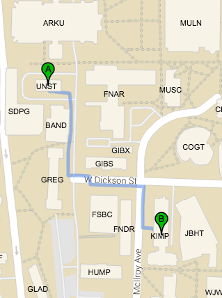 Walking Directions to Kimpel Hall