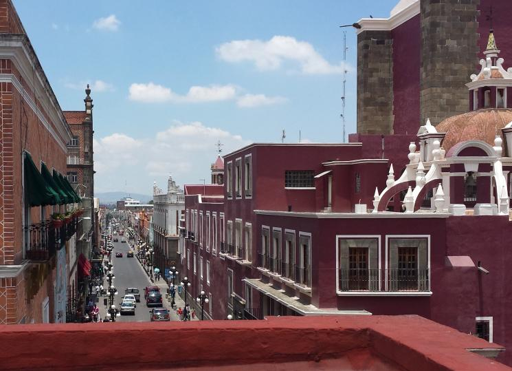 A rooftop view of the gorgeous city of Puebla, Mexico.