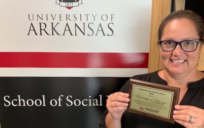 The School of Social Work was awarded the Champions for Social Justice Warrior Award by the Arkansas Support Network during the 26th annual Arkansas Support Network Honors Luncheon.