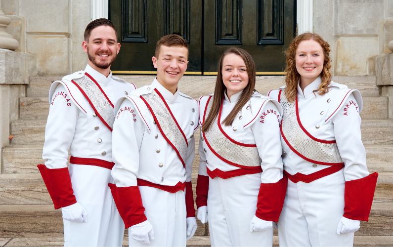 After a rigorous audition process, band faculty have selected four students to serve as drum majors for the 2019-20 academic year.