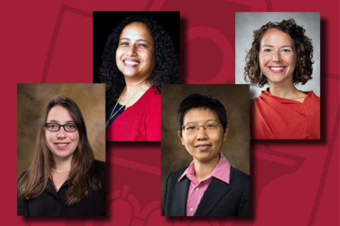 The 2021 recipients of several of Fulbright College's most prestigious endowed faculty awards include Lindsey Aloia, Jingyi Chen, Kusum Naithani, and Lisa Corrigan.