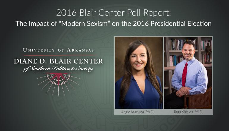 Blair Center logo and two faculty members.