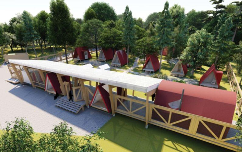 The project, a bridge housing community, is designed to be a self-managed community of low-cost housing for people experiencing chronic homelessness.