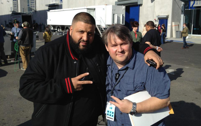 DJ Kahled and Craig Brooks during the filming of Hip Hop Squares.