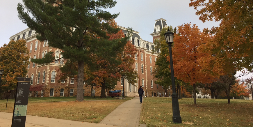 photo of Old Main in the fall season