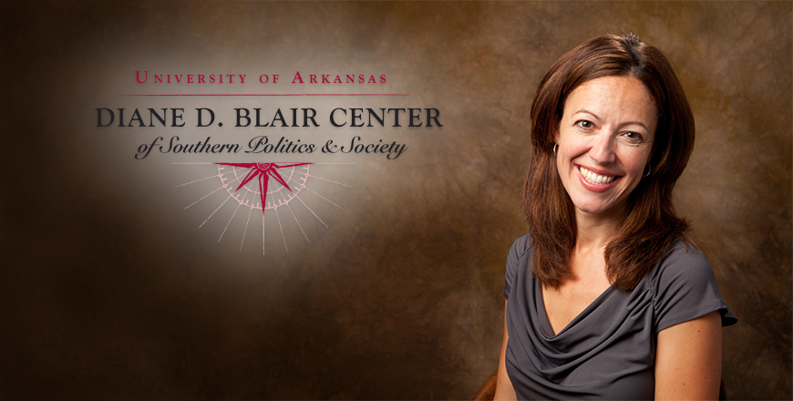 Janine Parry portrait with Blair Center of Southern Politics & Society logo.