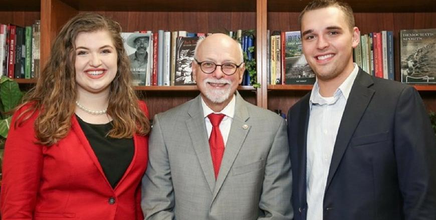 PLSC Student Ryann Alonso with Sam Harris and Chancellor Joe Steinmetz
