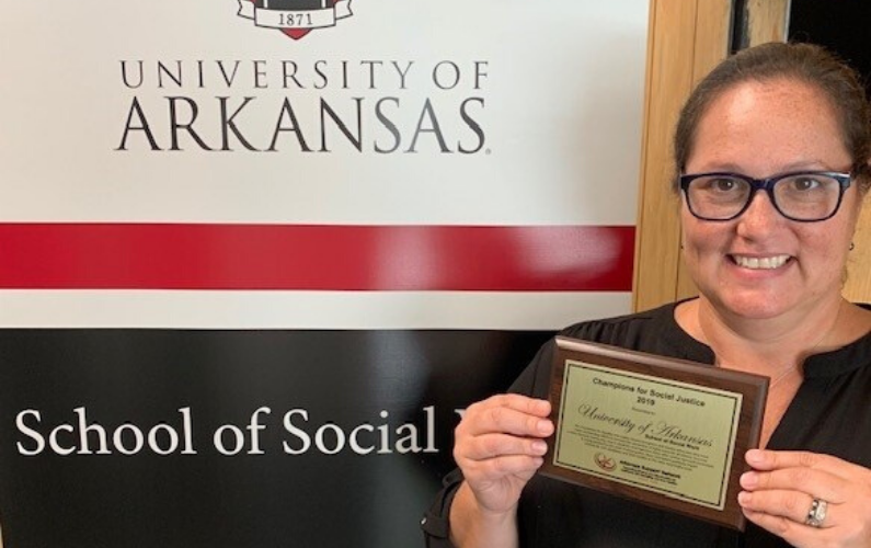 The School of Social Work's Field Education Program was recognized as a major contribution to positive change in teh Northwest Arkansas community. The program places student interns throughout the community to aid vulnerable populations and to make a positive social impact for all.